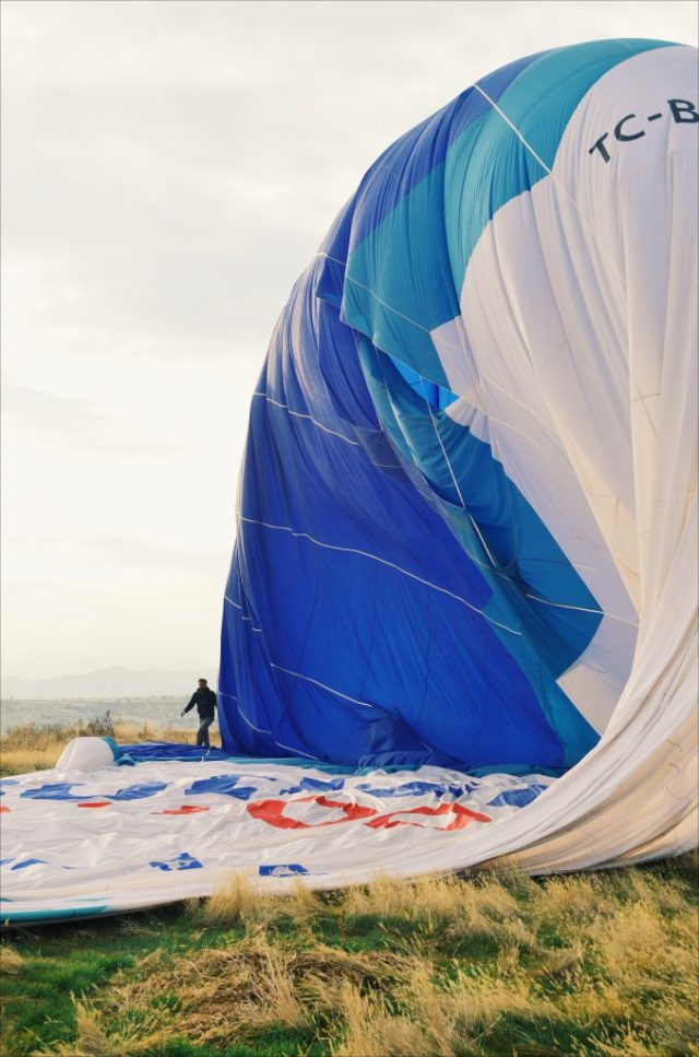 The balloon being deflated