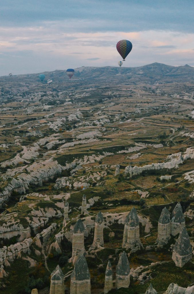 Flying over the Cappadocian terrain