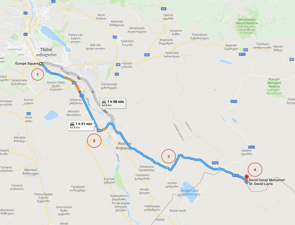 Google Maps' route recommendation from Europe Sq, Tbilisi to David Gareja Monastery